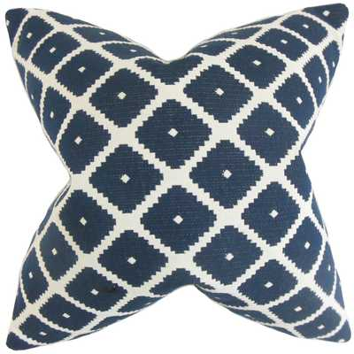 "Fallon Geometric Pillow Blue - 12"" x 18"", Down Insert - Linen & Seam"