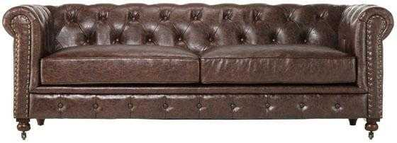 GORDON TUFTED SOFA - Brown bonded leather - Home Depot