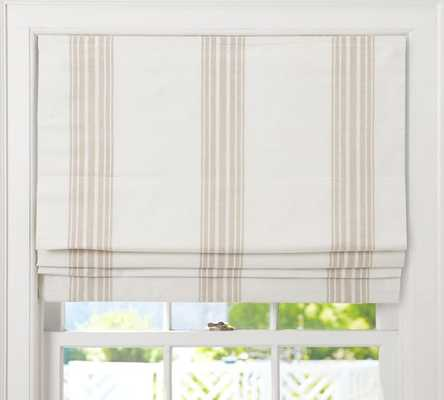 "Riviera Stripe Cordless Roman Shade - 44"" x 64"" - Sandalwood - Pottery Barn"