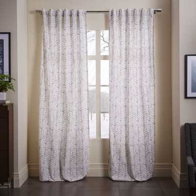 "Cotton Canvas Vine Leaves Curtain - Frost Gray - 84""L - West Elm"