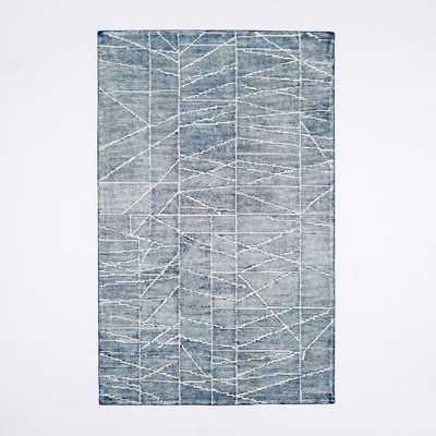 Erased Lines Wool Rug, 8'x10', Blue Lagoon - West Elm