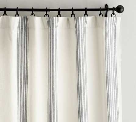"Riviera Stripe Drape with Blackout Liner - 50 x 84"" - Charcoal - Pottery Barn"