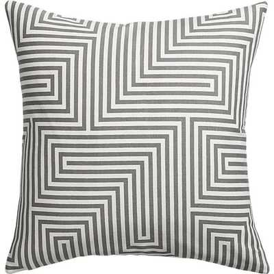 """Vibe 18"""" pillow with down-alternative insert, White, grey - CB2"""