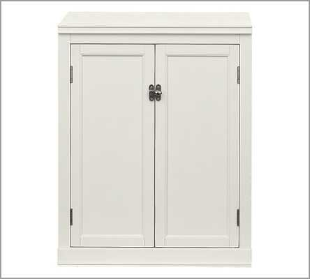 """LOGAN CABINET BASE WITH WOOD DOORS - 24"""", Antique white - Pottery Barn"""