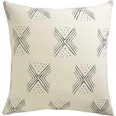 "Fini 20"" pillow with down-alternative insert, Natural /Black - CB2"