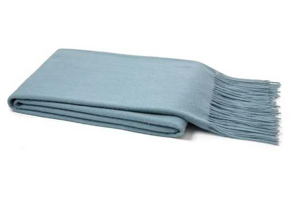 Solid Cashmere Throw, Lake Blue - One Kings Lane