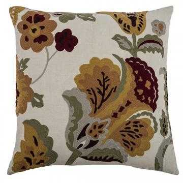 """MADELINE EMBROIDERED 20"""" PILLOW, IVORY - Polyester insert - Home Decorators"""