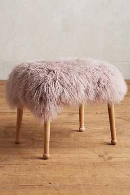 Luxe Fur Stool - Mauve - Anthropologie