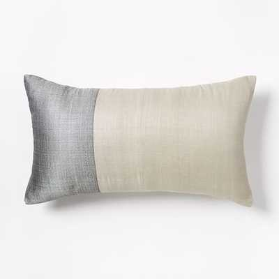"Sari Silk Pillow Cover - Platinum - 12""w x 21""l - Insert not included - West Elm"