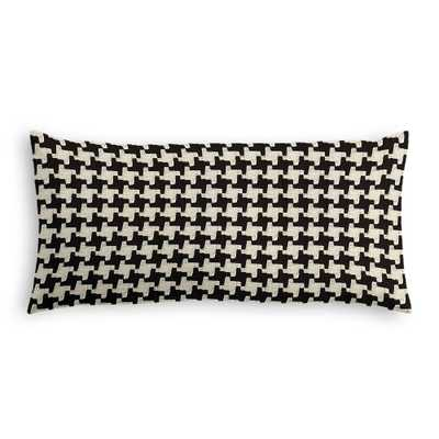 "Black & white houndstooth lumbar pillow - 12"" x 24"" - Down insert - Loom Decor"
