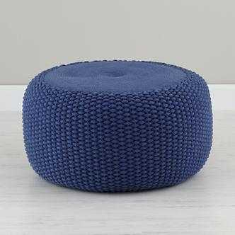 Blue Braided Pouf - Land of Nod