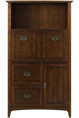 ARTISAN TALL SECRETARY DESK - Dark Oak - Home Decorators