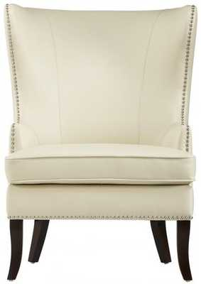 Moore Wingback Chair - Ivory Bonded Leather - Home Decorators