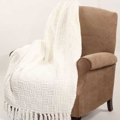 Cable Knitted Polyester Throw Blanket - Wayfair
