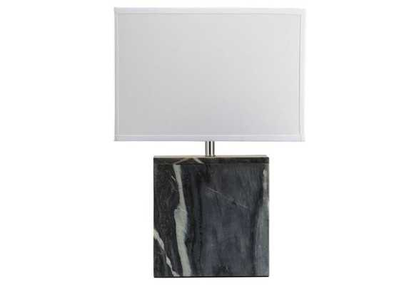 Square Marble Table Lamp, Gray - One Kings Lane