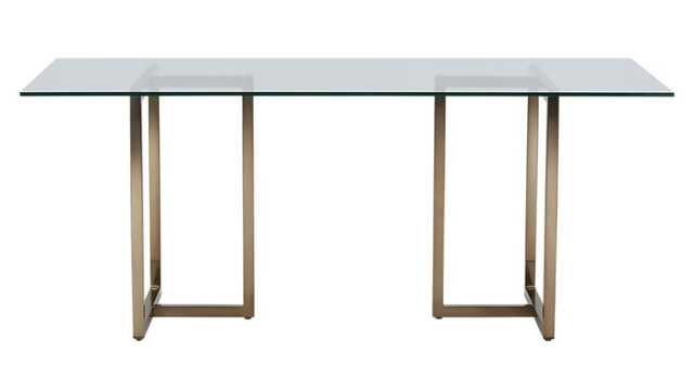 Silverado brass rectangular dining table - CB2