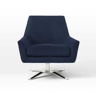 Lucas Swivel Base Chair - Performance Velvet, Ink Blue - West Elm