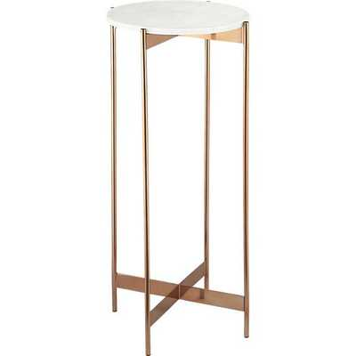 Marble-rose gold tall pedestal table - CB2