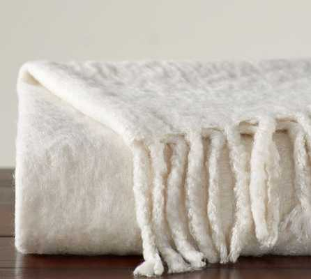"Solid Faux Mohair Oversized Throw - 55 x 80"" - Ivory - Pottery Barn"