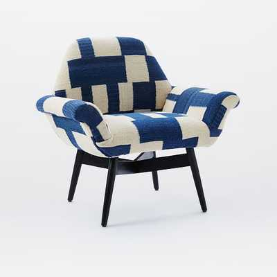 Orly Dhurrie-Upholstered Chair- Blue Checker - West Elm