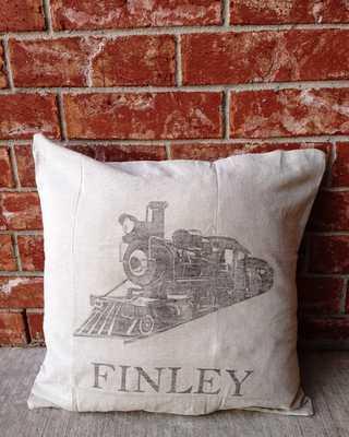 Custom Vintage Train Pillow - CHRISTIAN - 18x18 - Insert sold separately - Etsy