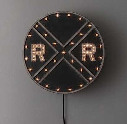 Vintage illuminated railroad sign - RH Baby & Child