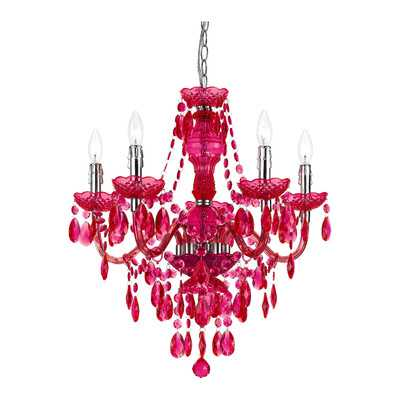 5 Light Crystal Chandelier - Hot pink - Wayfair