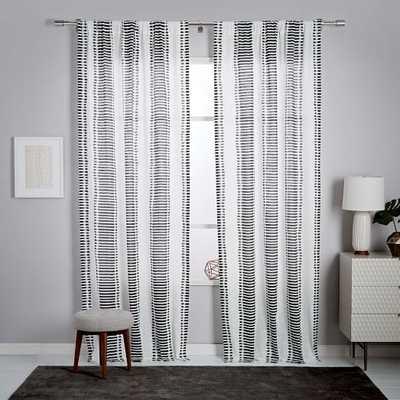 """Striped Ikat Curtain - Slate - 96"""" - West Elm"""