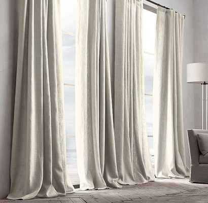 "Belgian Textured Linen Drapery, Natural - 84""L x 50""W - RH"