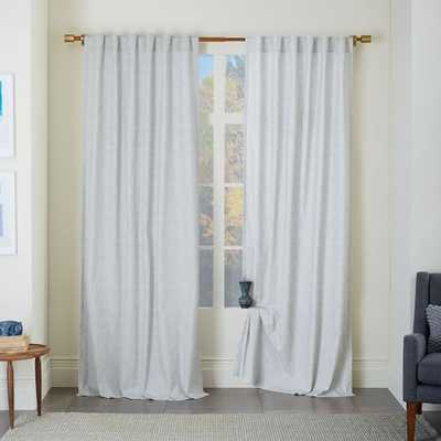 "Cotton Canvas Chambray Print Curtain - Platinum - Set of 2 - 108"" - West Elm"