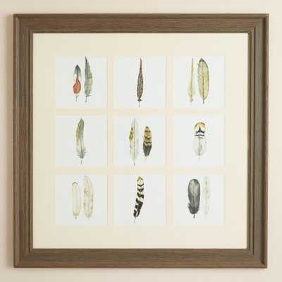 "Natural Feathers  - 35""Sq. - Distressed wood frame with Mat - World Market/Cost Plus"