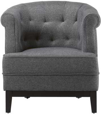 Travette Tufted Chair-Textured Solid Charcoal - Home Decorators