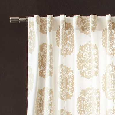 "Claude Medallion Flocked Curtain - 48"" x 84"" - Stone - West Elm"
