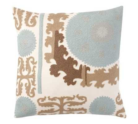 """SUZANI EMBROIDERED PILLOW COVER - COOL - 26"""" square - Insert Sold Separately - Pottery Barn"""