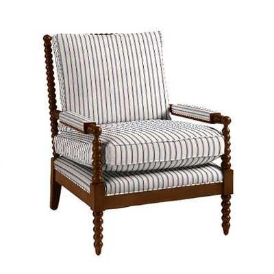 Shiloh Spool Chair - Vintage Ticking Stripe Navy - Walnut - Ballard Designs