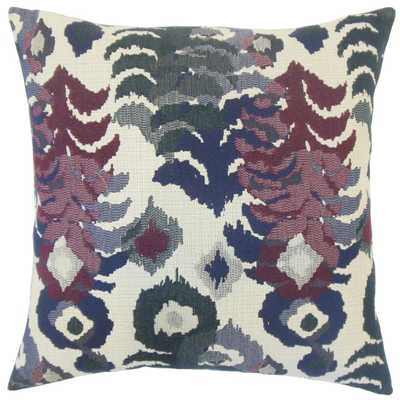 "Henriette Ikat Pillow Berry - 20"" x 20"", Down Insert - Linen & Seam"