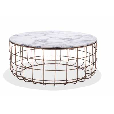 St. Clair Table-Rose Gold & White Marble - Industry West