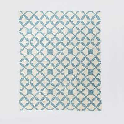 Tile Wool Kilim Rug - Aquamarine - West Elm