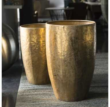 Hammered Suza Planter Set/ 2 - GoldLeaf Design Group
