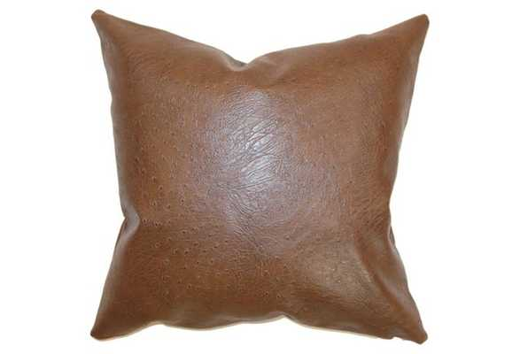 Airlie 18x18 Faux-Leather Pillow, Brown - Feather/Down Insert - One Kings Lane