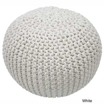 Nuloom Handmade Casual Living Disco Cables Pouf - White - Overstock