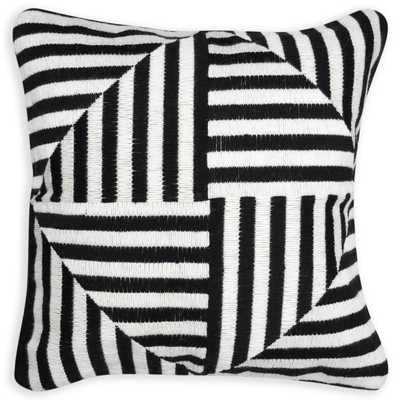"BLACK AND WHITE BARGELLO WINDMILL THROW PILLOW, 20"", Feather/down insert - Jonathan Adler"