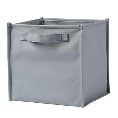 Grey Canvas Cube Bin - Land of Nod