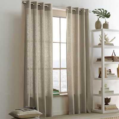 """Opaque Linen Grommet Window Panel, 63"""", Flax - West Elm"""