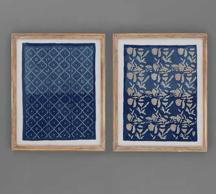 Framed Blue Textile Art - Set of 2 - Natural Frame - With Mat - Pottery Barn