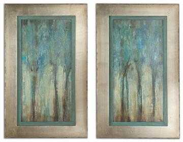 "WHISPERING WIND FRAMED WALL ART - SET OF 2 - 34.75""H x 21.25""W-silver leaf with champagne frame with mat - Home Decorators"