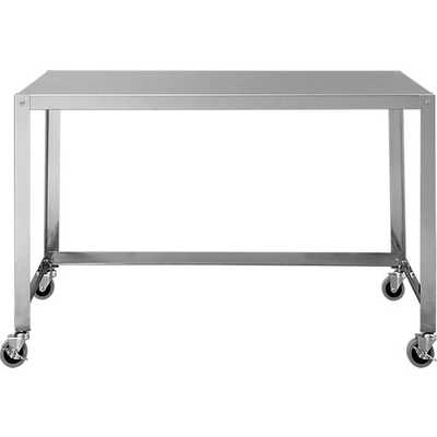 Go-cart stainless rolling desk - CB2