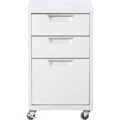 TPS white 3-drawer filing cabinet - CB2
