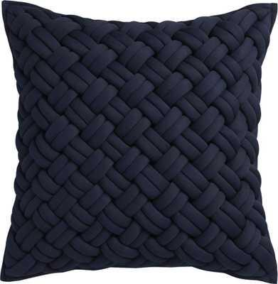 "jersey interknit navy 20"" pillow with insert - CB2"