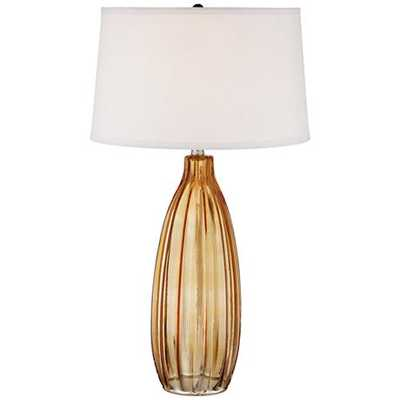 Stella Fluted Burnt Orange Glass Table Lamp - Lamps Plus